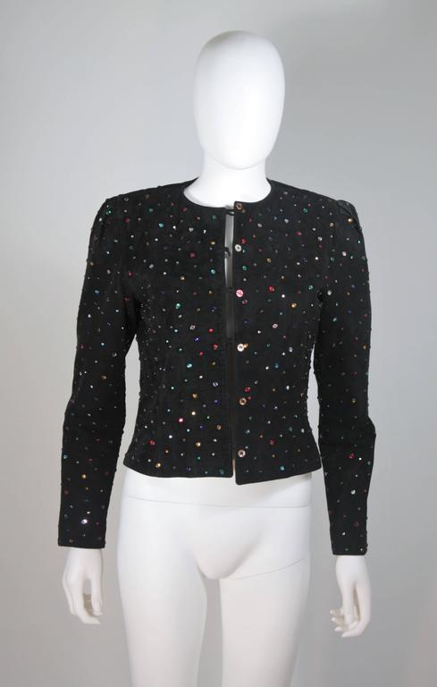 Black Suede Rhinestone Adorned Jacket Size Medium For Sale 2