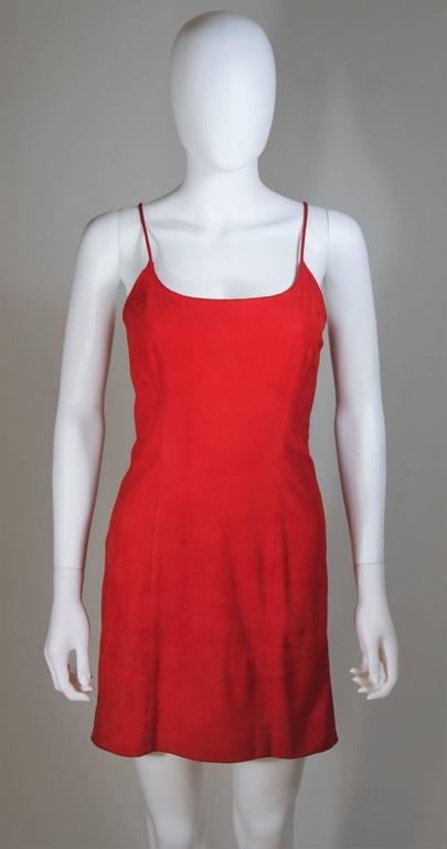 GUCCI Red Suede Spaghetti Strap Dress Size 4-6 2
