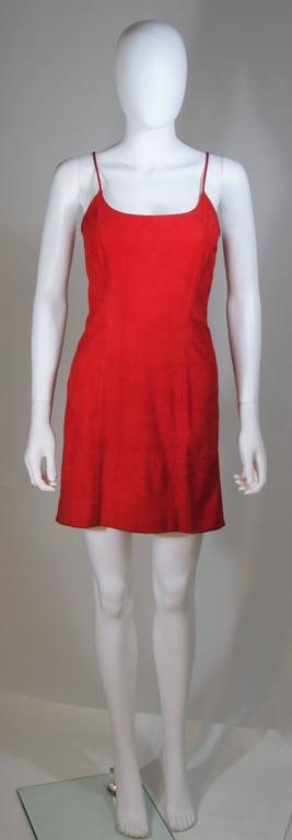 GUCCI Red Suede Spaghetti Strap Dress Size 4-6 In Excellent Condition For Sale In Los Angeles, CA