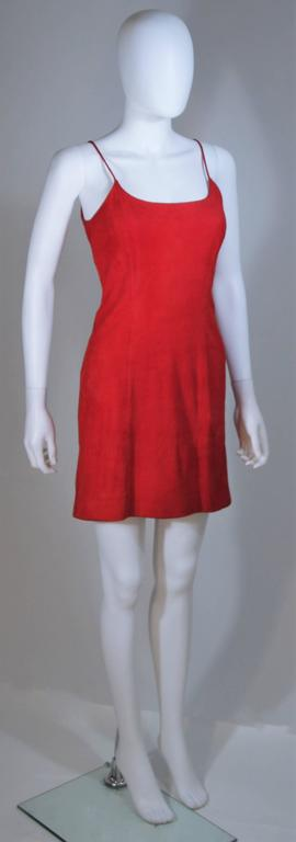 GUCCI Red Suede Spaghetti Strap Dress Size 4-6 For Sale 2