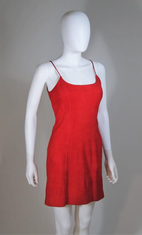 GUCCI Red Suede Spaghetti Strap Dress Size 4-6 For Sale 3