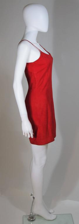 GUCCI Red Suede Spaghetti Strap Dress Size 4-6 For Sale 5