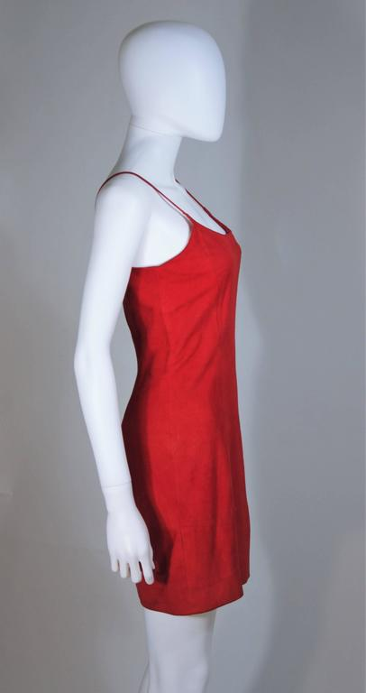 GUCCI Red Suede Spaghetti Strap Dress Size 4-6 For Sale 1