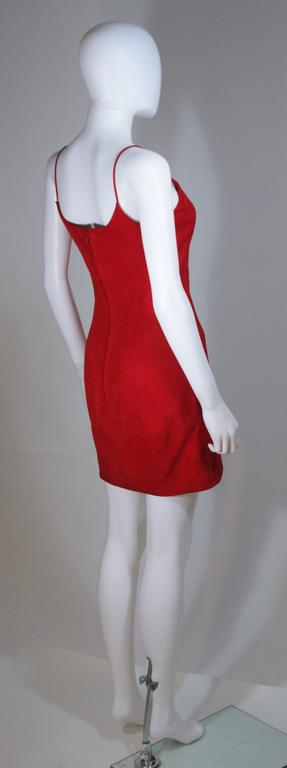 GUCCI Red Suede Spaghetti Strap Dress Size 4-6 For Sale 4