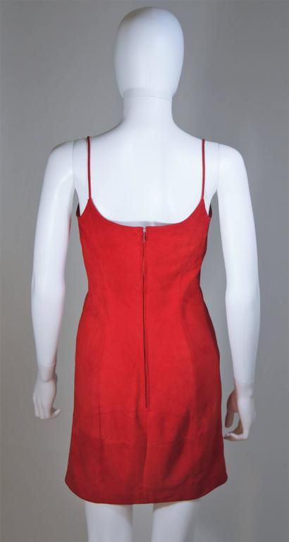 Women's GUCCI Red Suede Spaghetti Strap Dress Size 4-6 For Sale