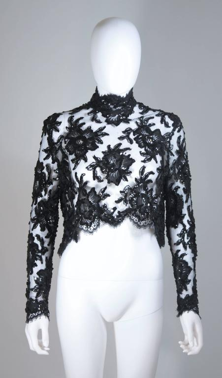 PATRICK KELLY Circa 1980's Black Sequin Lace Blouse and Cocktail Dress Size 4 8