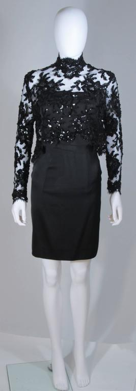PATRICK KELLY Circa 1980's Black Sequin Lace Blouse and Cocktail Dress Size 4 2