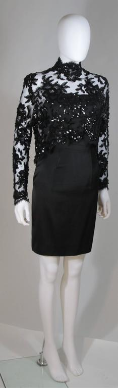 PATRICK KELLY Circa 1980's Black Sequin Lace Blouse and Cocktail Dress Size 4 4