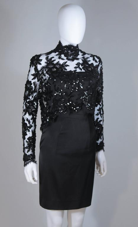PATRICK KELLY Circa 1980's Black Sequin Lace Blouse and Cocktail Dress Size 4 3