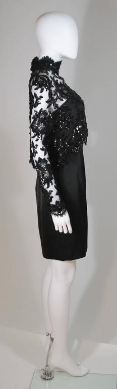 PATRICK KELLY Circa 1980's Black Sequin Lace Blouse and Cocktail Dress Size 4 5