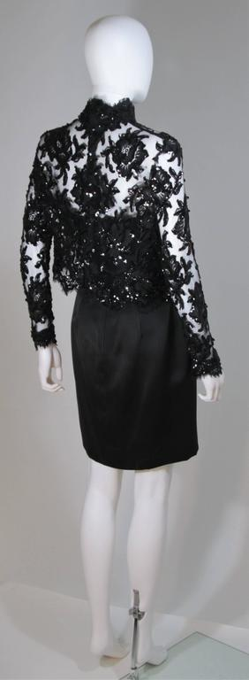 PATRICK KELLY Circa 1980's Black Sequin Lace Blouse and Cocktail Dress Size 4 6