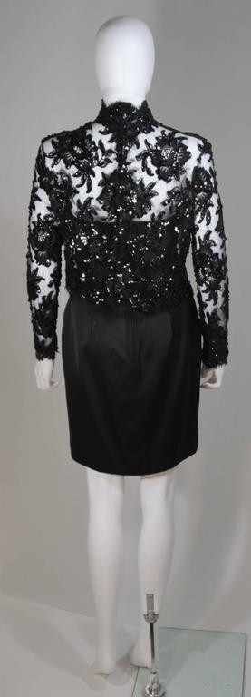 PATRICK KELLY Circa 1980's Black Sequin Lace Blouse and Cocktail Dress Size 4 7