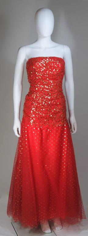 VICTOR COSTA Red Layered Mesh Gown with Gold Sequins Size 8 2