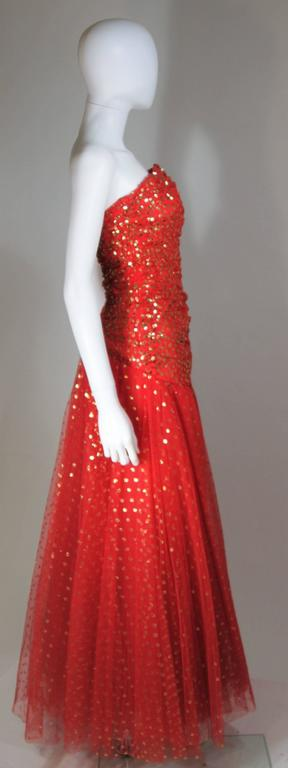 VICTOR COSTA Red Layered Mesh Gown with Gold Sequins Size 8 5
