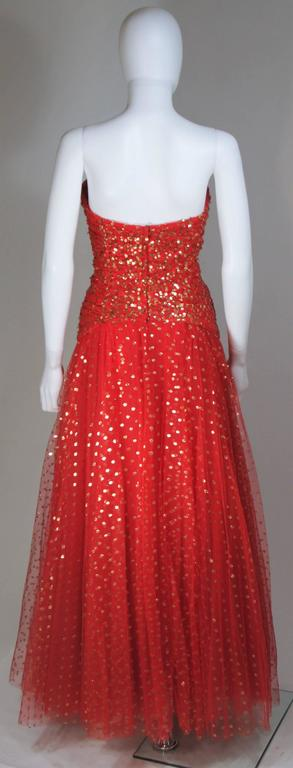 VICTOR COSTA Red Layered Mesh Gown with Gold Sequins Size 8 6