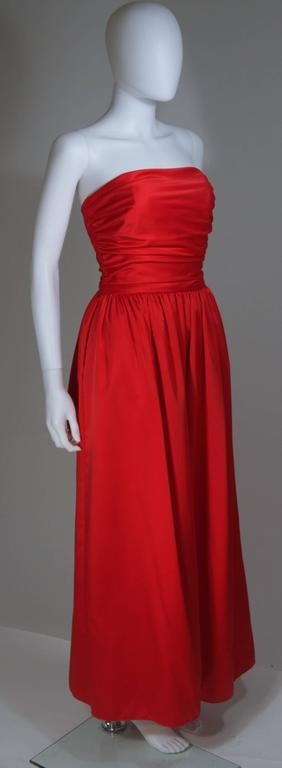 Women's ANTHONY MUTO Red Gown with Gathered Bodice and Waist Tie Size 4-6 For Sale