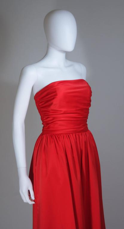 ANTHONY MUTO Red Gown with Gathered Bodice and Waist Tie Size 4-6 For Sale 1