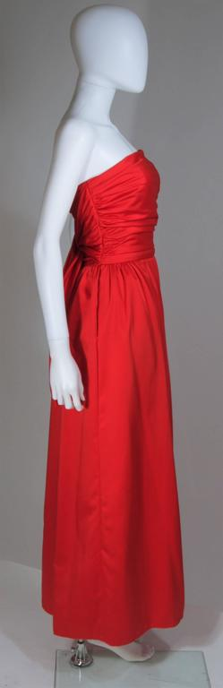 ANTHONY MUTO Red Gown with Gathered Bodice and Waist Tie Size 4-6 For Sale 2