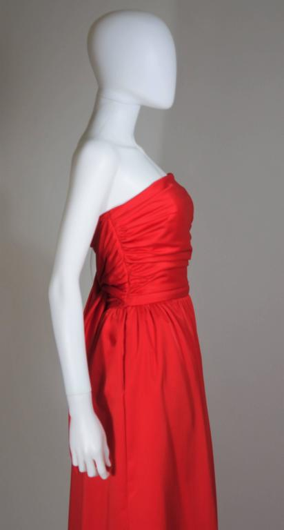 ANTHONY MUTO Red Gown with Gathered Bodice and Waist Tie Size 4-6 For Sale 3