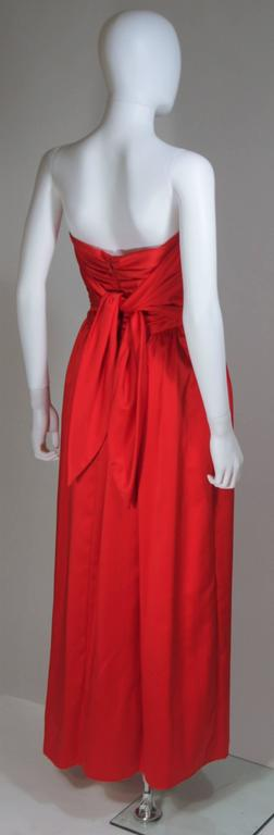 ANTHONY MUTO Red Gown with Gathered Bodice and Waist Tie Size 4-6 For Sale 4