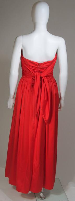 ANTHONY MUTO Red Gown with Gathered Bodice and Waist Tie Size 4-6 For Sale 5