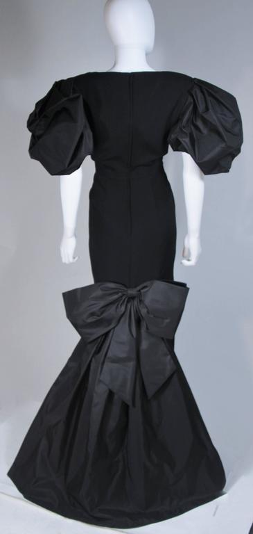 VICTOR COSTA 1980's - 1990's Black Gown with Puff Sleeve Bow Size 12-14  8