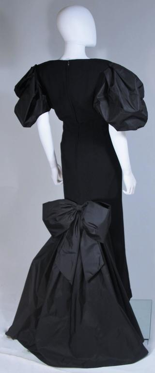 VICTOR COSTA 1980's - 1990's Black Gown with Puff Sleeve Bow Size 12-14  7
