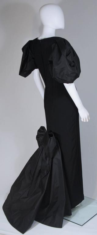 VICTOR COSTA 1980's - 1990's Black Gown with Puff Sleeve Bow Size 12-14  6