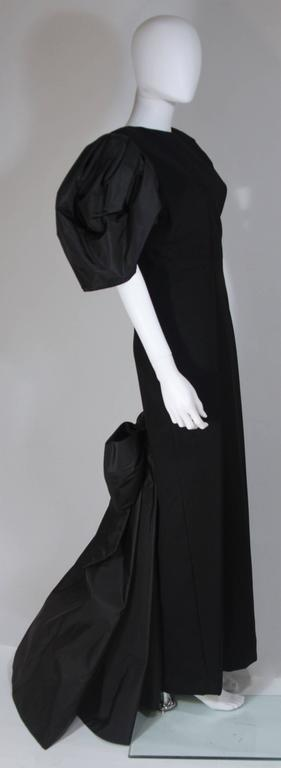 VICTOR COSTA 1980's - 1990's Black Gown with Puff Sleeve Bow Size 12-14  5