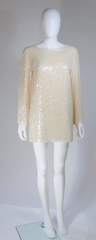 OLEG CASSINI Off White Silk Iridescent Sequin Embellished Tunic Size 6 2