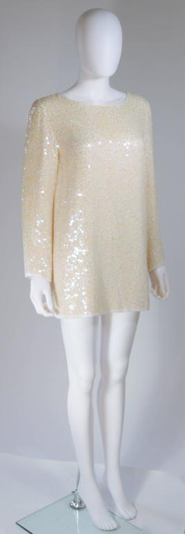 Women's OLEG CASSINI Off White Silk Iridescent Sequin Embellished Tunic Size 6 For Sale