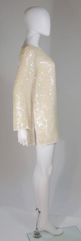 OLEG CASSINI Off White Silk Iridescent Sequin Embellished Tunic Size 6 7