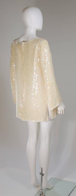 OLEG CASSINI Off White Silk Iridescent Sequin Embellished Tunic Size 6 8