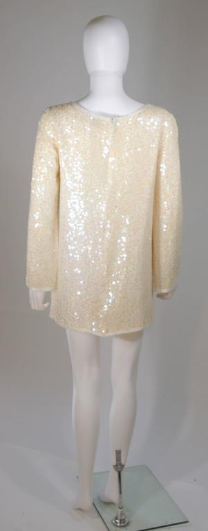 OLEG CASSINI Off White Silk Iridescent Sequin Embellished Tunic Size 6 For Sale 4