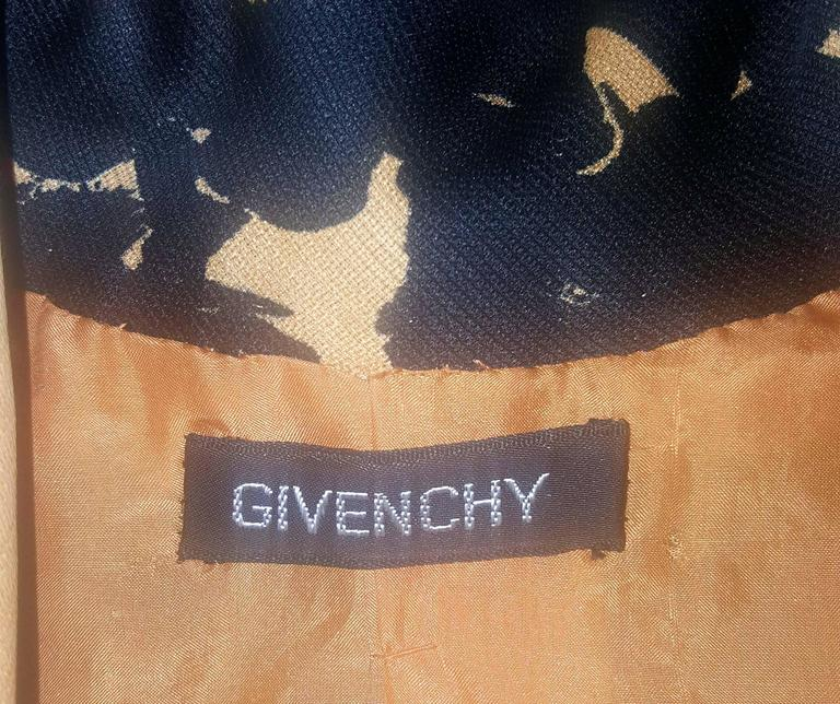 GIVENCHY Circa 1980s Apricot Brown and Black Floral Print Suit Size 6-8 For Sale 6