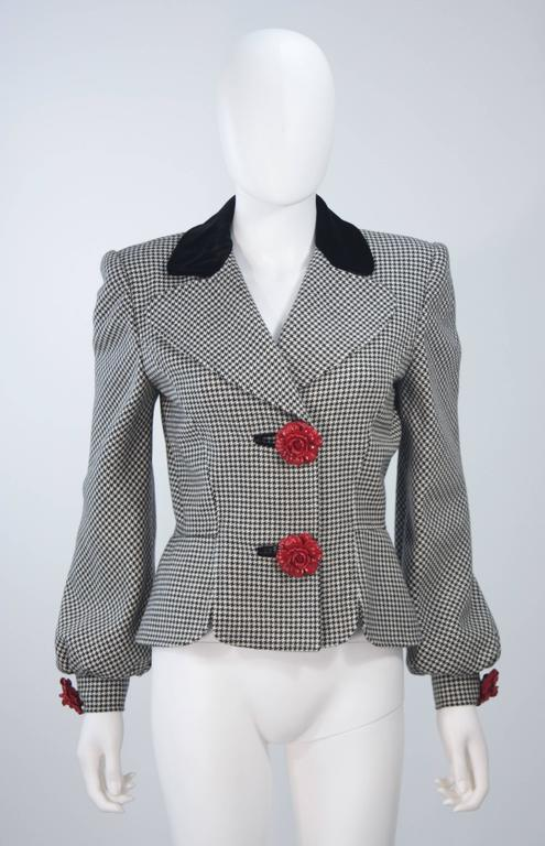 Valentino 1980 S Rose Button Black And White Houndstooth