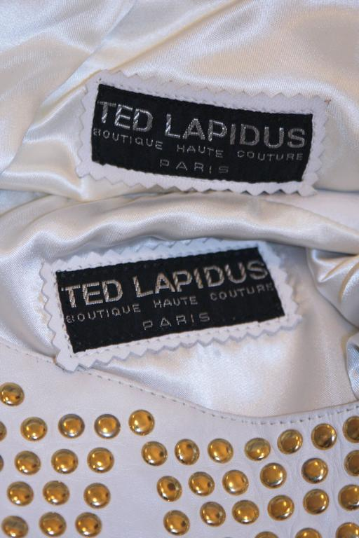 TED LAPIDUS Two Piece Off White Leather Short Set with Gold Studs Size 4 For Sale 5