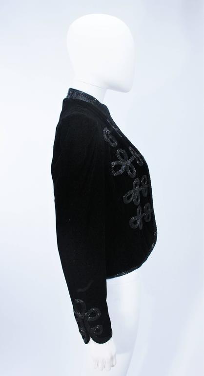 OSCAR DE LA RENTA Black Velvet Beaded Jacket Size 4 6