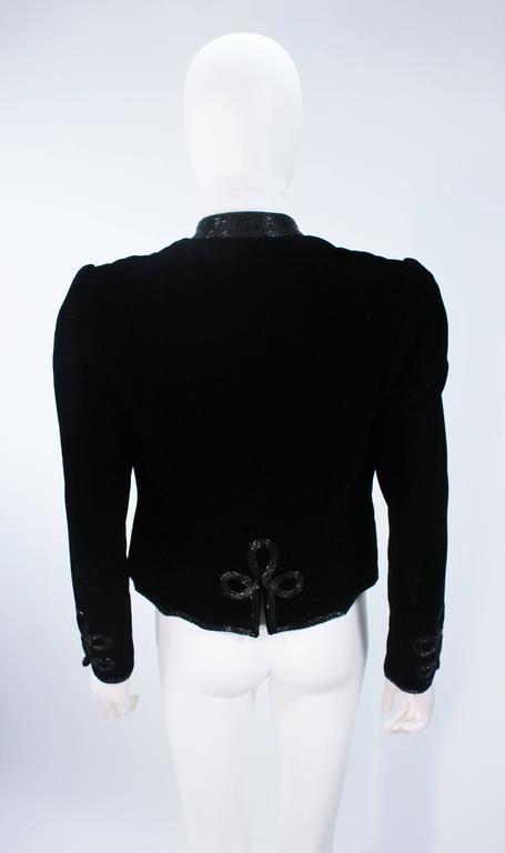 OSCAR DE LA RENTA Black Velvet Beaded Jacket Size 4 8