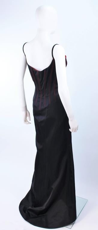 RICHARD TYLER Silk Corset Gown with Red Accents Size 12 14 For Sale 3