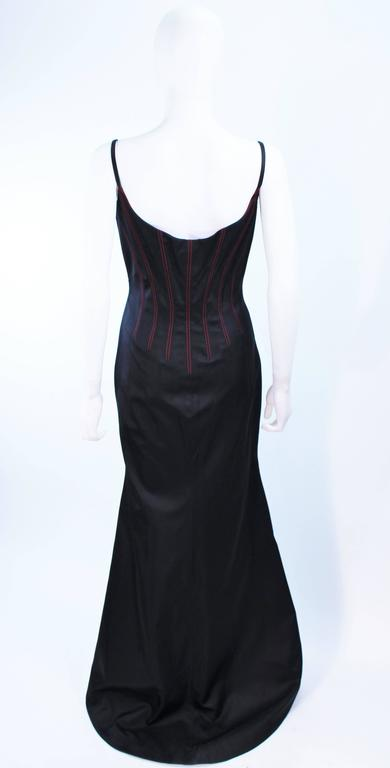 RICHARD TYLER Silk Corset Gown with Red Accents Size 12 14 For Sale 4