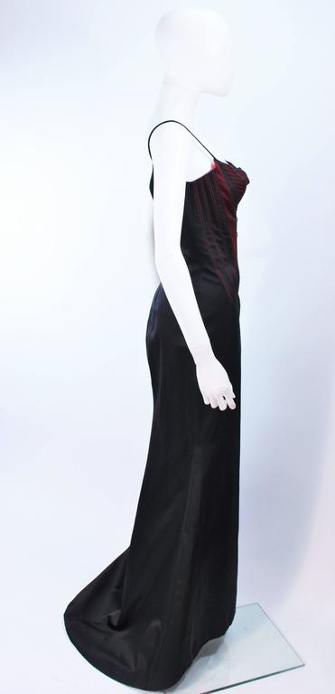 RICHARD TYLER Silk Corset Gown with Red Accents Size 12 14 For Sale 2