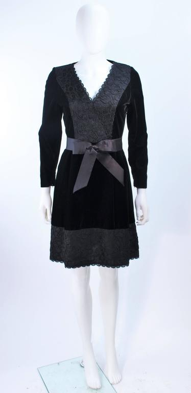 GIVENCHY Black Velvet Cocktail Dress with Lace Trim and Satin Belt Size 4 2