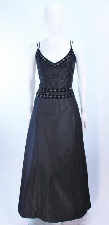 BADLEY MISCHKA Black Satin Beaded Gown with Rhinestone Accents Size 4  2