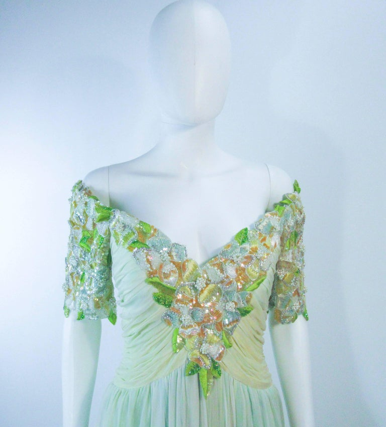 BOB MACKIE Green Chiffon Flower Embellished Gown Size 2 4 In Good Condition For Sale In Los Angeles, CA