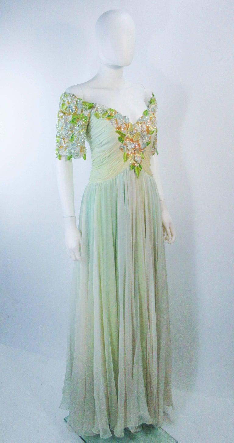 Women's BOB MACKIE Green Chiffon Flower Embellished Gown Size 2 4 For Sale