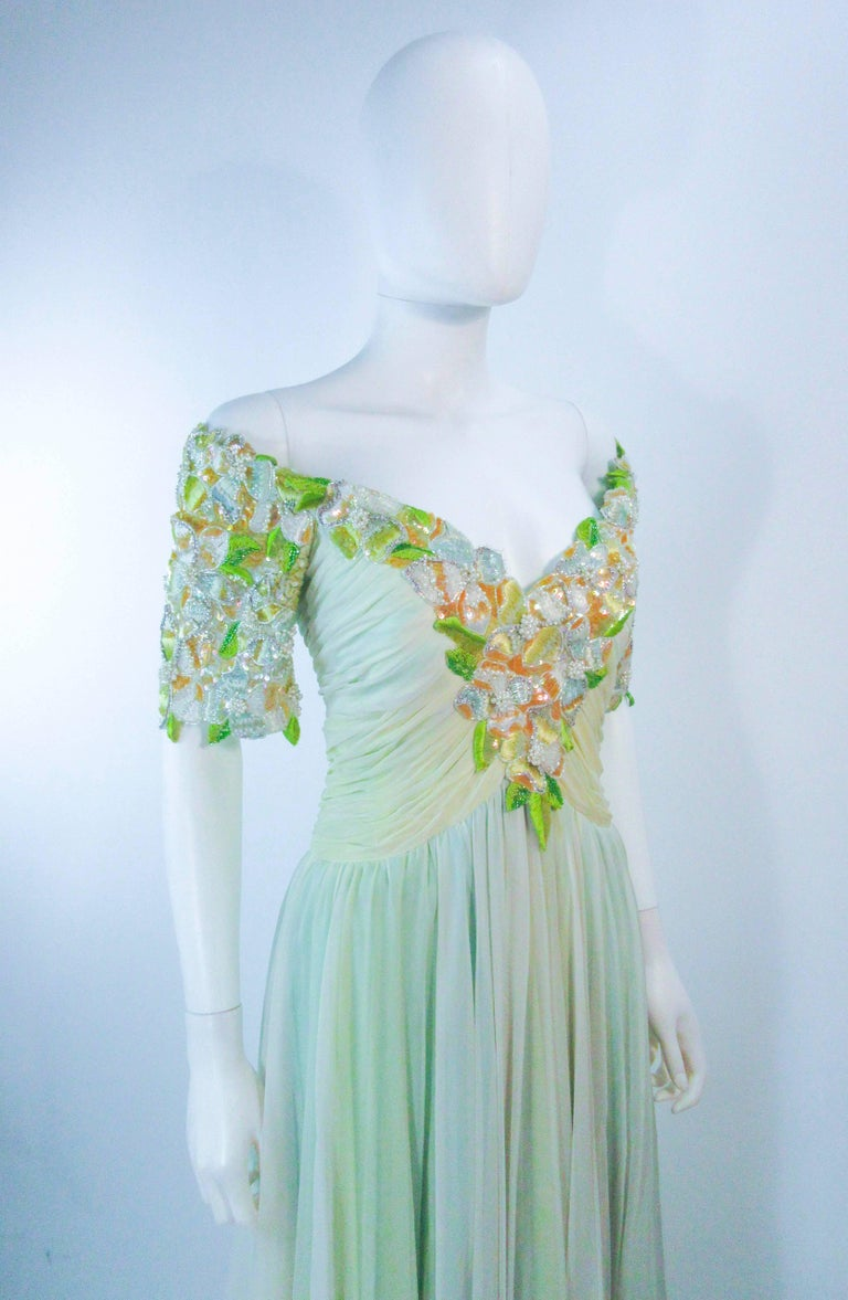 BOB MACKIE Green Chiffon Flower Embellished Gown Size 2 4 For Sale 1