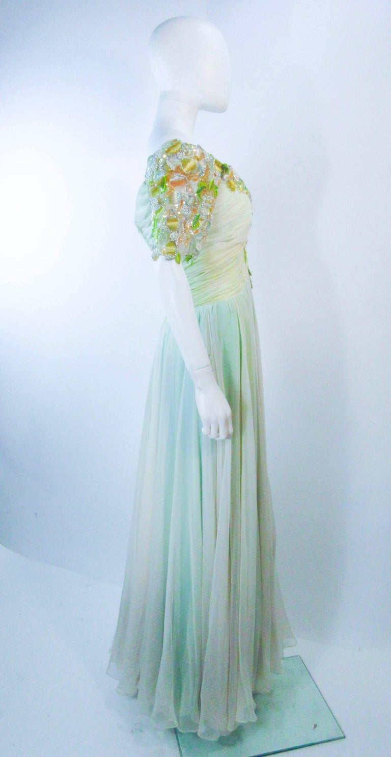 BOB MACKIE Green Chiffon Flower Embellished Gown Size 2 4 For Sale 3