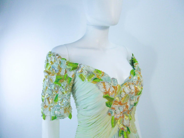 BOB MACKIE Green Chiffon Flower Embellished Gown Size 2 4 For Sale 2