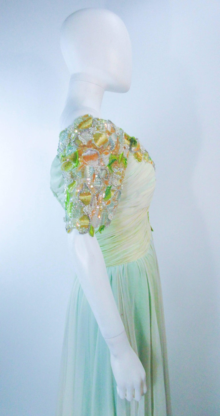 BOB MACKIE Green Chiffon Flower Embellished Gown Size 2 4 For Sale 4